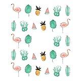 EROSPA Nailart Nail-Tattoo Sommer Flamingo Palmenblatt Ananas Melone Kaktus Motiv - Nagel Sticker - Aufkleber - 28 Motive - Selbstklebend