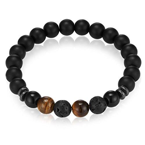 Gemdor Unisex Energiearmband Onyx Lavastein Armbandlänge ca. 16 - 21 cm in verschiedenen Ausführungen - Chakraarmband für Damen Edelsteinarmband Armband Damen Yoga