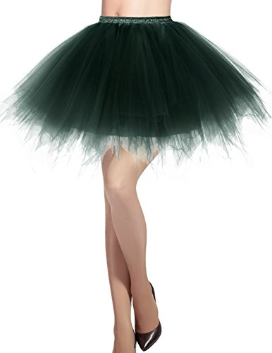 Dresstells Damen Tüllrock 50er Rockabilly Petticoat Tutu Unterrock Kurz Ballett Tanzkleid Ballkleid Abendkleid Gelegenheit Zubehör DarkGreen M