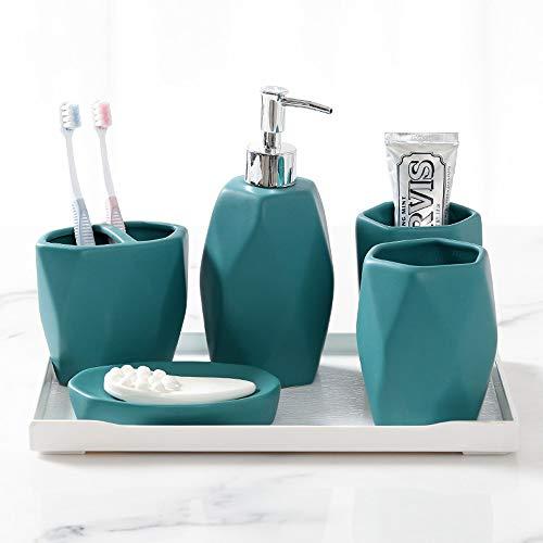 RKY Badzubehör eingestellt Kreatives Badezimmer-Set aus fünf Teilen, bestehend aus sechs Toiletten, Toilettenartikel, Bad-Accessoires, 6 Farben und 2 Sets / - / (Farbe : Blau, größe : Six Sets)