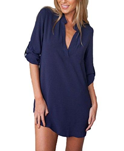 Femmes Blouse Chemisier Shirt Manches Longues Mousseline De Soie Col V Couleur Unie Bleu foncé