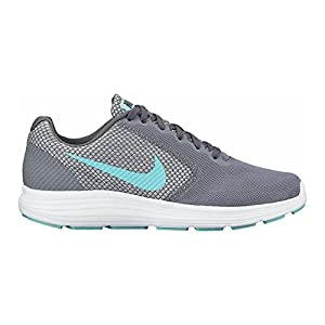 Nike Wmns Revolution 3, Chaussures de Running Femme, Multicolore (Cool Grey/Aurora Green/Dark Grey/White), 39 EU