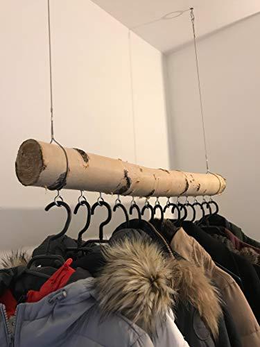 Weiße Birkenstamm-Garderobe getrocknet – bis 3 Meter Länge