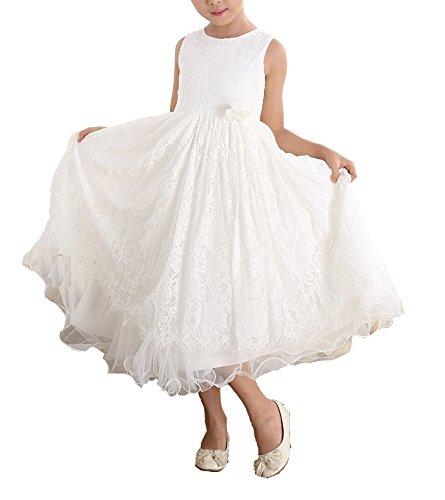 ze Brautjungfer Kleid Blumenmädchen Kleid Elfenbein 128-134 ()