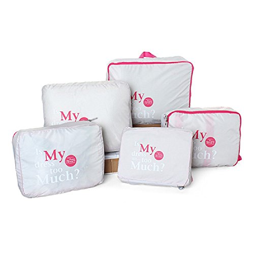 Ducomi Organizatore per Valigie Cubi di Imballaggio Borse da Viaggio Set di 5 organizzatori per valigie impermeabili (Grey)