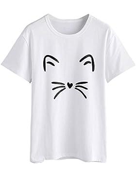 KanLin1986-Ropa Tops Camisetas Para Mujer,Casual Verano Camis Blusa Camisetas de Manga Corta Moda O Cuello Gato...