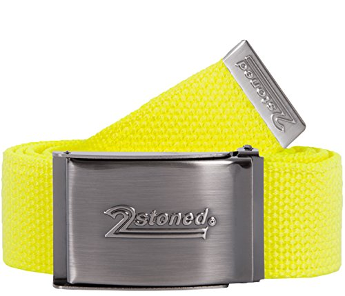 2Stoned Tresor-Gürtel Geldgürtel Neon-Gelb 4 cm breit matte Schnalle Speed, Safe Belt für Damen und Herren