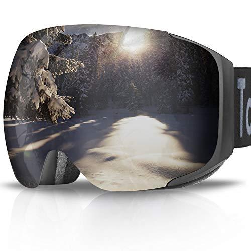 Tobbiheim Skibrille, Snowboard Brille Magnetisch Austauschbar Linse UV400 Schutz Anti Beschlag Verbesserte Belüftung für Damen, Männer, Jungend und Brillenträger - Schwarz