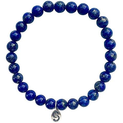 Semi-prezioso Cristallo Elastico Braccialetto Apatite con Etichetta Argento Sterling 925: Blu Verde, 6-8 mm Pietre, Fatto a Mano, APOCCAS AGNI