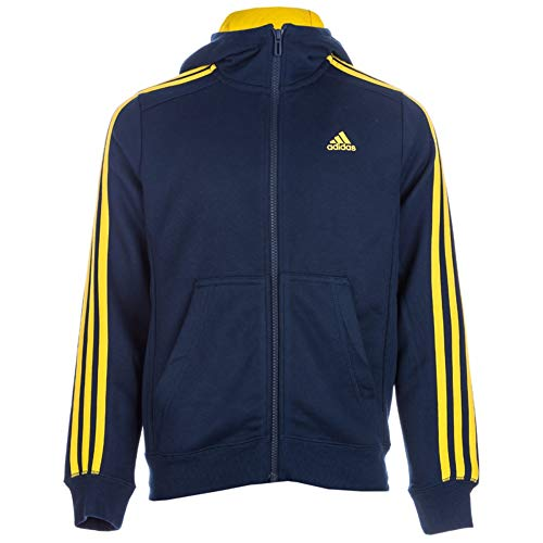 adidas Jungen Essentials 3 Stripes Kapuzenjacke, Collegiate NavyEQT Yellow, 152