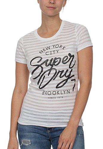 Superdry T-Shirt Damen NYC Burnout Stripe Entry Tee Optic, Größe:L -