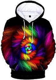 Men Women Color 3D Printing Hoodies Sweatshirt Coat, Couple Long Sleeve Casual Pocket Blouse Tunic Tops Sport
