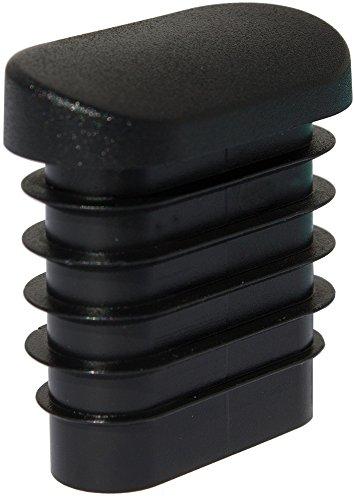 Dekaform Fussstopfen S101, Kunststoff Stopfen schräg, Fusskappe, Möbelgleiter, Stuhlgleiter Gartenstuhl - Fußsstopfen Stapelstuhl, Kunststoffgleiter für Gaten Stuhl mit Flach - Ovalrohr* schwarz -