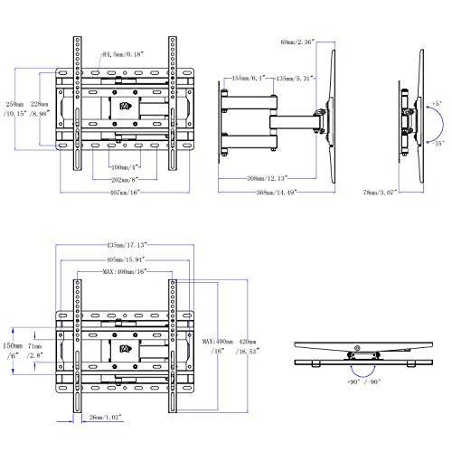 Mounting Dream TV Wandhalterung Schwenkbar Neigbar Fernsehhalterung für die meisten 26-55 Zoll LED, LCD, OLED und Plasma TVs mit MAX. VESA 400x400mm bis zu 30kg, Montageschablone Enthalten, MD2378-03