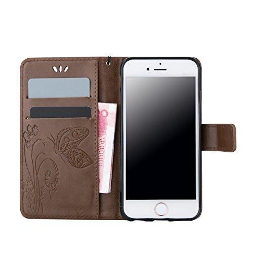 iPhone 6S Plus Coque, iPhone 6 Plus Coque, Lifeturt [ Blanc ] Leather Case Wallet Flip Protective Cover Protector, Etui de Protection PU Cuir Portefeuille Coque Housse Case Cover Coquille Couverture a E02-Bleu clair