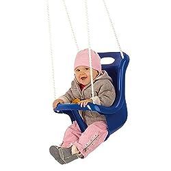 Babyschaukel, Sicherheitsschaukel mit hoher Rückenlehne + extra Sicherheitsgurt. Farblich unsortiert: rot, gelb oder blau