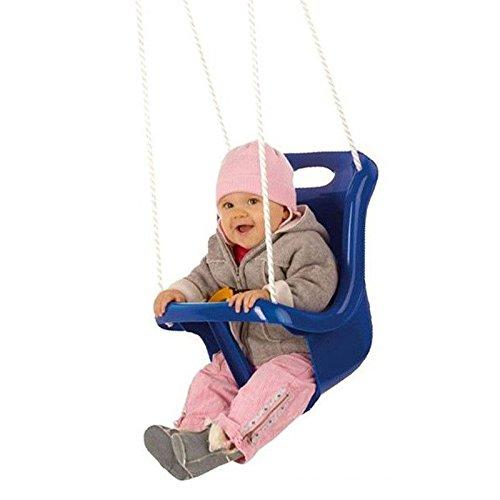 Babyschaukel, Sicherheitsschaukel mit hoher Rückenlehne + extra Sicherheitsgurt (Farbe:blau)