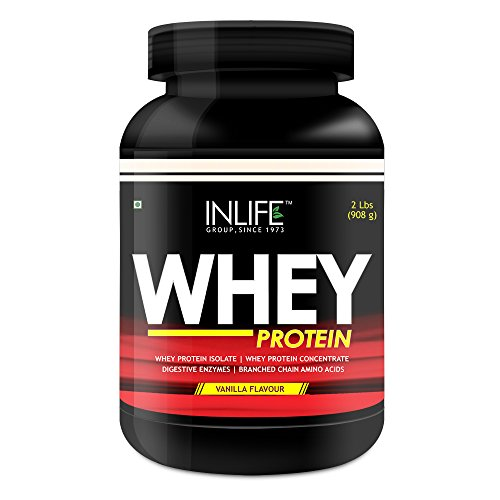 INLIFE Whey Protein Powder Best Pre and Post Workout Proteins Blend Shake With Free Shaker - 2 lbs (Approx 1 Kg) (Vanilla Flavour)