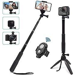 JPARR Perche Selfie, 3 en 1 Extensible Selfie Stick Trépied avec Détachable Télécommande sans Fil, Monopode et Support Téléphone pour Gopro/DSLR/iPhone/Samsung/Huawei et Autres Smartphones