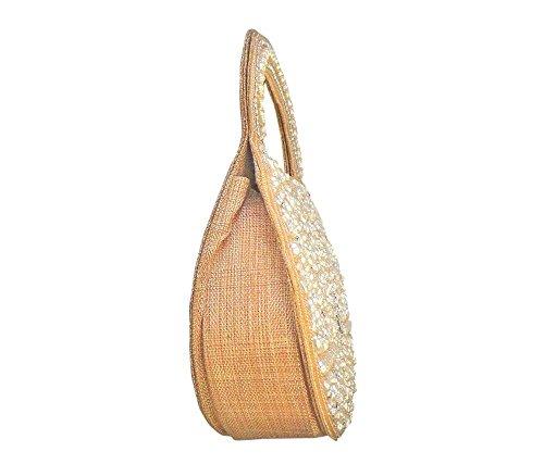 Bhamini dicono le donne s, effetto juta, decorato con perline, a forma di foglia Oro (oro)