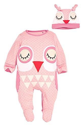 CANIS Baby-Jungen-Mädchen-Kinder neugeborener Säuglingsspielanzug-Hut Bodysuit-Ausstattungs-gesetztes 0-24M (0-6 Monate, Rosa Eule)