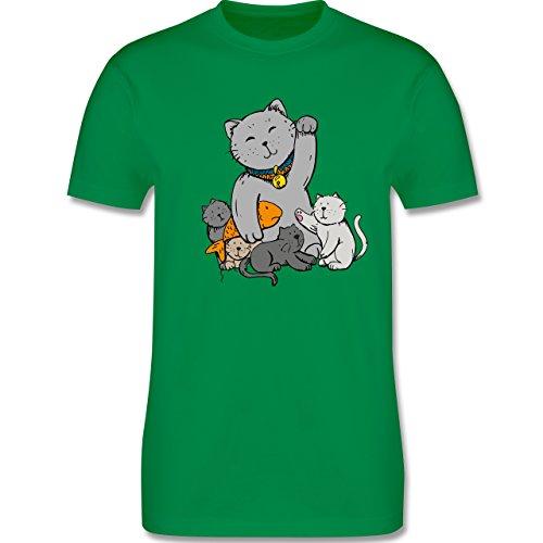 Weihnachten & Silvester - Winkekatze - Herren Premium T-Shirt Grün
