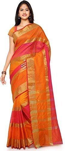 PRAMUKH STORE Women's Cotton Silk Saree With Blouse Piece (Anu Fentta-Orange) Sarees...