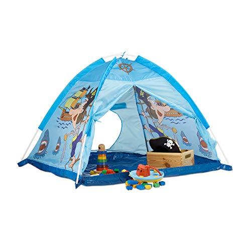 Relaxdays Spielzelt Pirat, Kinderzelt für Jungen ab 3 Jahre, Indoor und Outdoor Piratenzelt HxBxT 90x118x115 cm, blau
