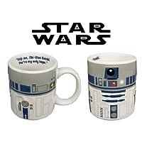 Tazza raffigurante R2-D2, con licenza ufficiale Star Wars. Disegno tridimensionale in rilievo. La tazza è realizzata in ceramica, è alta circa 9 cm e ha un diametro di 8 cm. Capacità pari a circa 0,3 l.