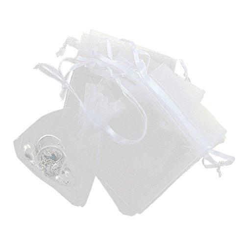100X Organzabeutel Schmuckbeutel Geschenkbeutel Säckchen Beutel aus Organza - Weiß, /