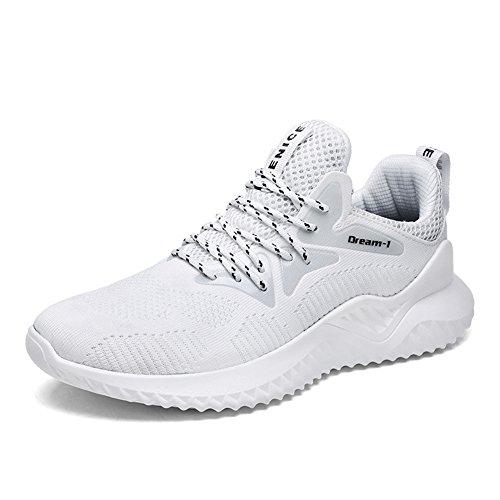 Hombre Zapatillas Deporte Zapatos para Correr Athletic Cordones Running Sports Sneakers Negro Blanco...