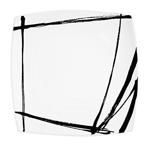 Lot de 6 assiettes plates carrées EXPRESSION noires 26 cm