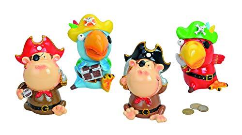 MC Trend Kinder Spardose AFFE-Papagei als Pirat Augenklappe Tier Schatz-Kiste-Truhe Geschenk-Idee Geburtstag Kinderzimmer Deko (Pirat AFFE Hut Schwarz)