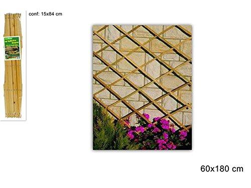Vetrineinrete® traliccio estensibile in legno per piante rampicanti grigliato in legno per decorazione giardino gazebo veranda balcone per fiori rose edera vasi varie misure (180 x 60) f33