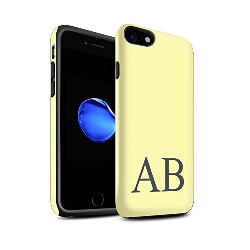 Personalisiert Pastell Monogramm Matte Zähen Hülle für Apple iPhone 8 / Korallen Design / Initiale/Name/Text Stoßfest Schutzhülle/Case/Etui Gelbes