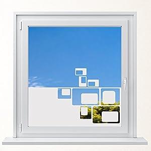 DD Dotzler Design 6416-18 Sichtschutzfolie mit Motiv Fensterfolie Milchglas Retro Ecken Corners Squares Vogelschutz