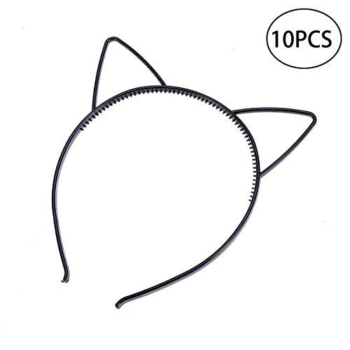 Niedliche Kostüm Katzen Tragen - Frcolor 10 Stück Katzenohren Haarreifen Haarband Ohren Stirnband Party Katze Kostüm Schmuck (Schwarz)