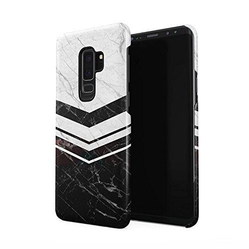 Black & White Marble Chevron Line Blocks Dünne Rückschale aus Hartplastik für Samsung Galaxy S9 Plus Handy Hülle Schutzhülle Slim Fit Case Cover - Chevron Block