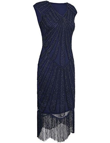 1920er Jahre Inspirert Perlen Art Deco Franse Flapper Kleid XL Blau (Plus Size Flapper)