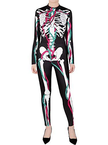 Kostüm Halloween Schädel - SATINIOR Halloween Vampir Kostüm Catsuit Skeleton Schädel Bodysuit Langarm Einteilig Anzug (Stil 1),Mehrfarbig,L-XL