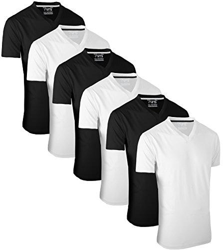 Iii-v-ausschnitt (Full Time Sports 6 Pack Weiß Schwarz T-Shirts mit V-Ausschnitt (3) Large)
