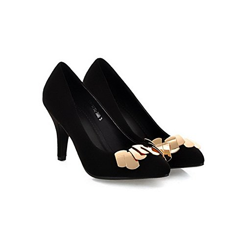 AgooLar Femme Tire Pointu à Talon Haut Suédé Couleur Unie Chaussures Légeres Noir