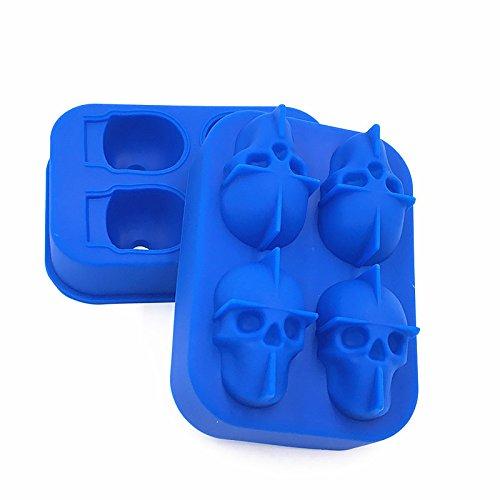 YBWEN Eiswürfelformen & Tabletts 3D Schädel Flexible Silikon Eisform 4 Schädel Große Eismaschine für Juice Jelly Chocolate Whisky Ice Cube Mold (Farbe : Blau)