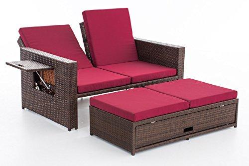 CLP Poly-Rattan 2er Lounge-Sofa ANCONA, ALU-Gestell, Fußteil ausziehbar, flexibel verstellbar, 7 Farben + 2 Rattan Stärken wählbar Rattan Farbe braun-meliert, Stärke 1,25 mm, Bezugfarbe: Rubinrot - 2