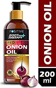 POSITIVE Root Therapy + Red Onion Oil for Hair Growth | Added 31 natural essential Oils & extracts | Bhringhraj, Hibiscus, Sesame, Neem, Olive Oil, Castor Oil | Hair Growth Oil & Anti Dandruff Hair Oil | 200 ML