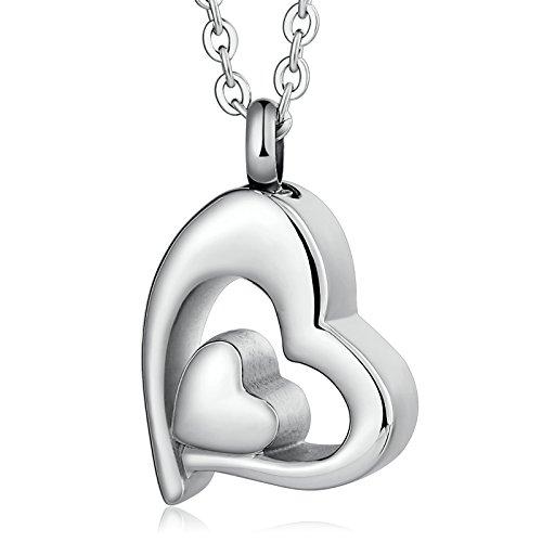 feuerwehr namen child Anyeda Edelstahlkette mit Namen Edelstahl Doppeltes Herz Silber Engravableeltern Halskette Keepsake