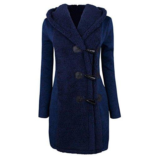 Kleidung Mäntel Damen Sunday Mode Warme Winter Plus Dicke Warme Solide Knöpfe Parka Lange Hoodie Outwear (Blau, L) (Baumwolle Solide Muster)