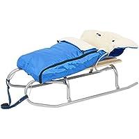 Trineo de metal con asiento de madera + azul cálido saco saco de dormir