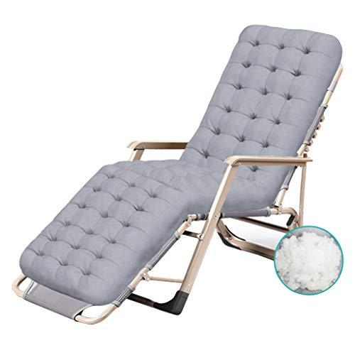 Pieghevole sedie a sdraio lettino prendisole poltrona da giardino reclinabile a gravità zero relaxer regolabile per patio da campeggio all'aperto spiaggia, grigio max.260kg