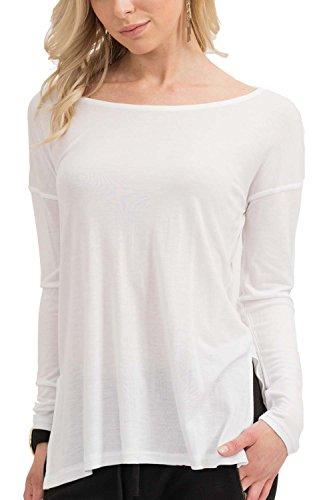 trueprodigy Casual Damen Marken Long Sleeve Einfarbig Basic, Oberteil Cool und Stylisch mit Rundhals (Langarm & Slim Fit), Langarmshirt für Frauen in Farbe: Weiß 1073544-2000-M